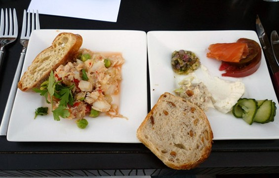 The fish round: baccala salad on the left, smoked fish on the right. - ALEX HOCHMAN