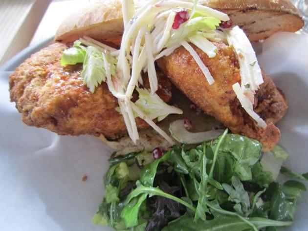 The fried chicken sandwich at Clove & Hoof - ALIX WALL