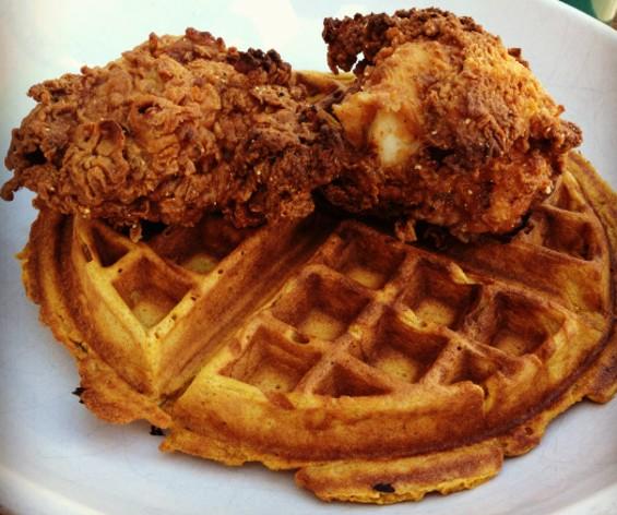 The Front Porch's signature chicken and sweet potato waffle. - JOSH LESKAR