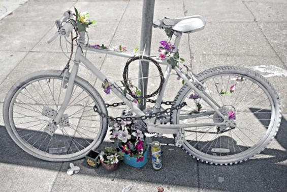 The 'ghost bike' serving as a memorial for Nils Linke at Turk and Masonic - JIM HERD