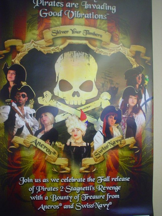 The Good Vibes staff pose as pirates to promote porn.