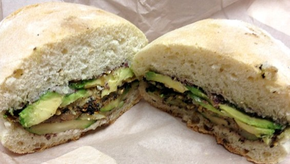 The grilled eggplant sandwich at Foundation Cafe. - ANNA ROTH