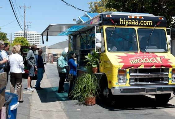 The HiYaaa! banh mi truck on its inaugural run. - ALBERT LAW