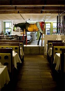 JEN SISKA - The horse sculpture lends a little country flavor to a city tavern.