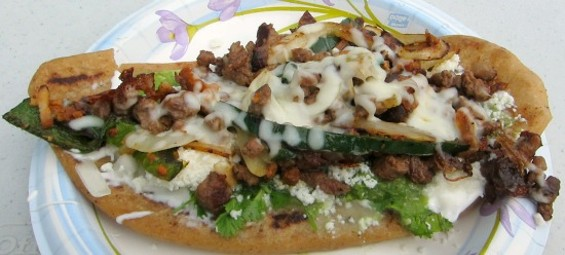The huarache Alambre from El Huarache Loco, which you can eat at Outside Lands this year.