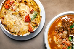 LARA HATA - The impressive lobster mac and cheese (left) sits next to satisfying shrimp and grits.