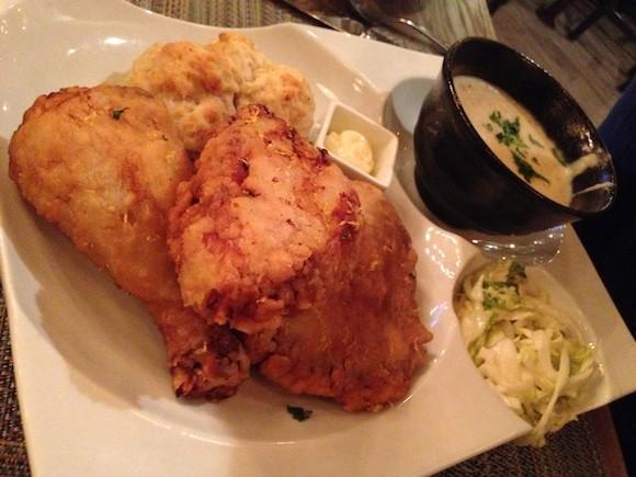 The Ive's Fried Chicken at Bradley's Fine Diner, Bradley Ogden's New Restaurant in Menlo Park - TREVOR FELCH