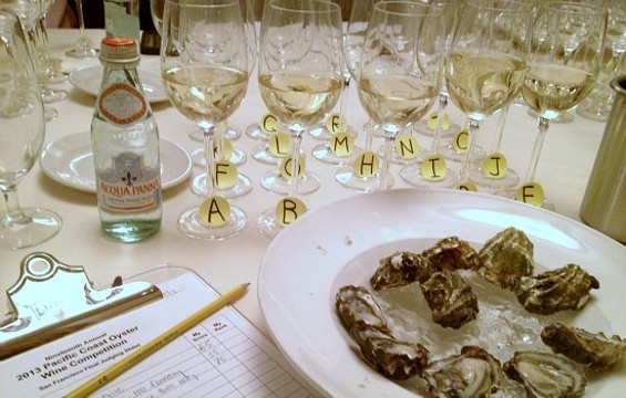 The judges' setup at the Pacific Coast Oyster Wine Competition - ANNA ROTH