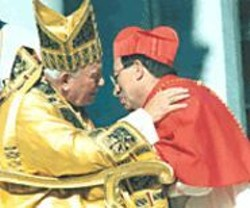 The late pontiff and Cardinal Rodriguez.