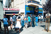 The line at Ike's at the old location. It's not much shorter now. - CHRIS MACARTHUR