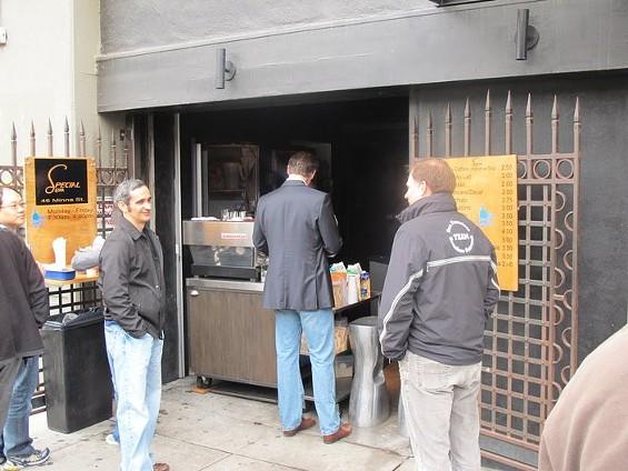 The mayor's coffee fix cannot wait.