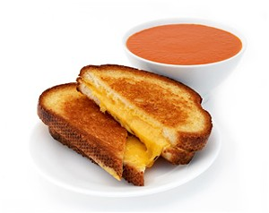 The Melt's sharp cheddar on potato bread and tomato basil soup.