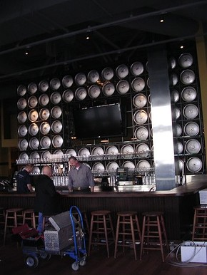 The mighty keg wall at Public House. - J. BIRDSALL
