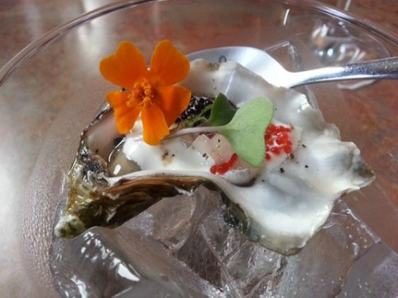 The Miyagi oyster with fish roe at Mission pop-up, The Palace. - DAISY T./ YELP