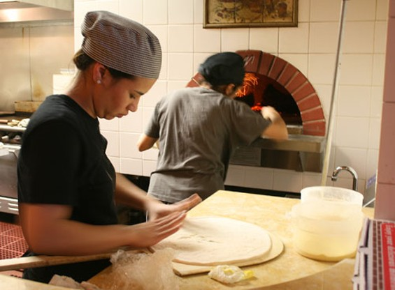 The new pizza oven in action. - JANINE KAHN