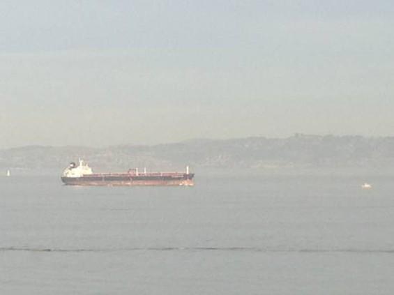 "The ""Overseas Reymar,"" stopped in the Bay between Pier 33 and Treasure Island. - ALBERT SAMAHA"