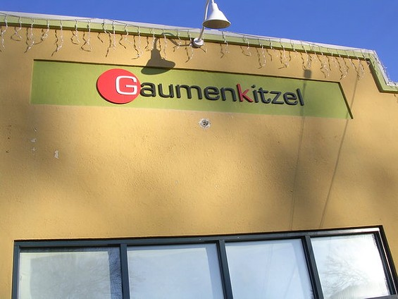 The owners of Gaumenkitzel, which should open on San Pablo Avenue later this month, are from Hamburg. - JOHN BIRDSALL