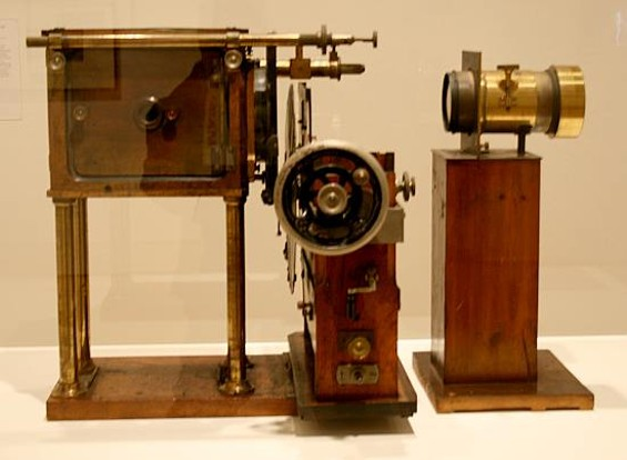 The praxinoscope, when loaded with a disc containing Muybridge's photos, would project the equivalent of moving pictures.