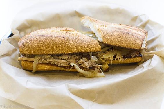 The pulled pork adobo sandwich ($7) from Oakland's Café Gabriela. - JUN BELEN/JUNBELEN.COM