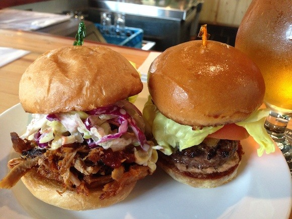 The Pulled Pork and Burger Sliders at the Devil's Slide Tap Room in Pacifica - TREVOR FELCH