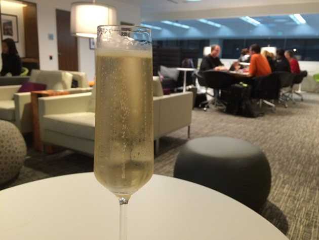 The relative luxury of a fancy airport lounge. - ANNA ROTH