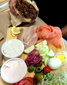 The Rye Project's fish platter and Romanian pastrami sandwich. - ANNA ROTH
