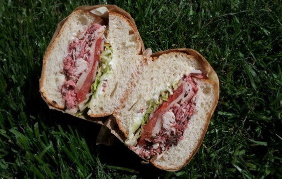 "The ""San Franciscan"" sandwich from Mission Picnic is layered with hot pastrami, oven roasted turkey, and melted provolone. - PETE KANE"