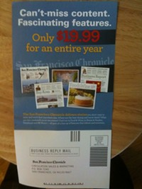 The San Francisco Chronicle's new subscription offer