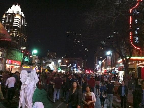 The scene on Sixth street.