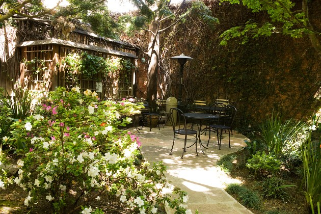 The shared garden area at Arlequin. - ARLEQUIN CAFE