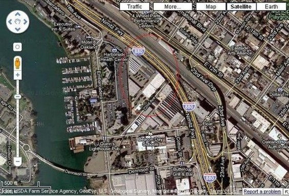 The site of Jeff Wilcox's proposed Oakland pot complex and factory