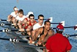 DAVID  GONZALES - The Stanford men's crew, pulling to win.