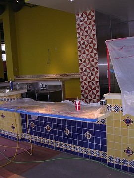 The state of Mijita's tiled main counter last week. - J. BIRDSALL