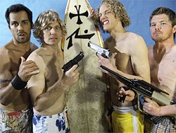 The surfer gang of bank robbers: Rodney Medeiros (Grommet), Ted Harvey (Bodhi), Paul Leafstedt (Roach), and Chris Bowen (Nathanial).