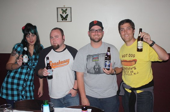 The tasters, from left: Danielle Oakley, Jason King, Jeff McClure, the author.