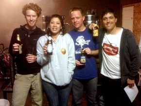 The tasting panel (from left): Bryan Hermannsson, Gabrielle Chan, Jay Hinman, the author. - B. YAEGER