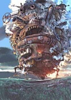 The titular moving castle looks like - something excised from one of Monty - Python's Flying Circus' animated - interludes.