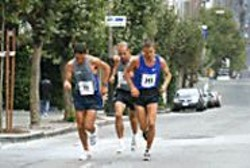 The top three runners of the 2003 race struggle up - Nob Hill.