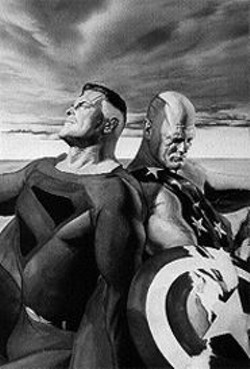The two sides of Alex Ross: Kingdom Come's Superman and Earth X's Captain America, painted for Wizard magazine