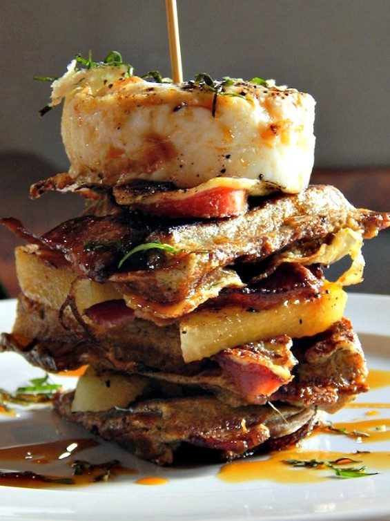 The unholy French toast sandwich at Tango & Stache's brunch this weekend. - TANGO & STACHE