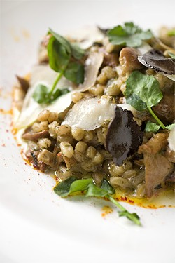 "LARA HATA - The unusual ""risotto,"" made with plump farro instead of rice."