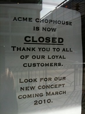 The upscale steakhouse is being axed -- er, cleavered.