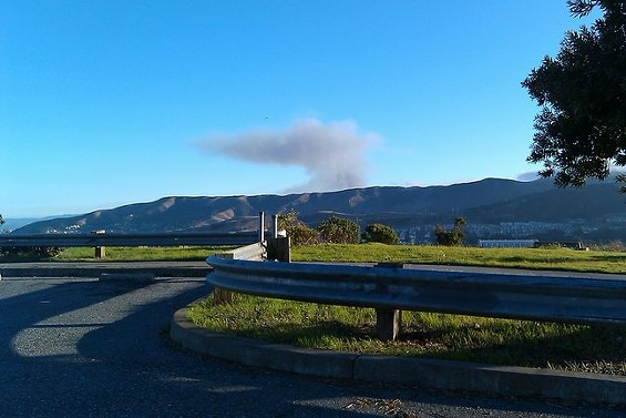 The view of the San Bruno fire from Mclaren Park, just 15 minutes after the explosion