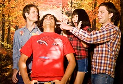 SARAH CASS - The villain-battling crew of Deerhoof: Greg Saunier, Ed Rodriguez, Satomi Matsuzaki, and John Dieterich.