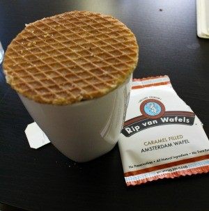 The wafel is placed on the rim of your cup, where it is heated by the steam of your coffee, tea, or even warm cider. - RHYS ALVARADO