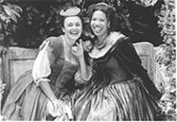 The well-heeled matrons of Windsor share a merry moment in San Francisco Shakespeare Festival's production of The Merry Wives  of Windsor.