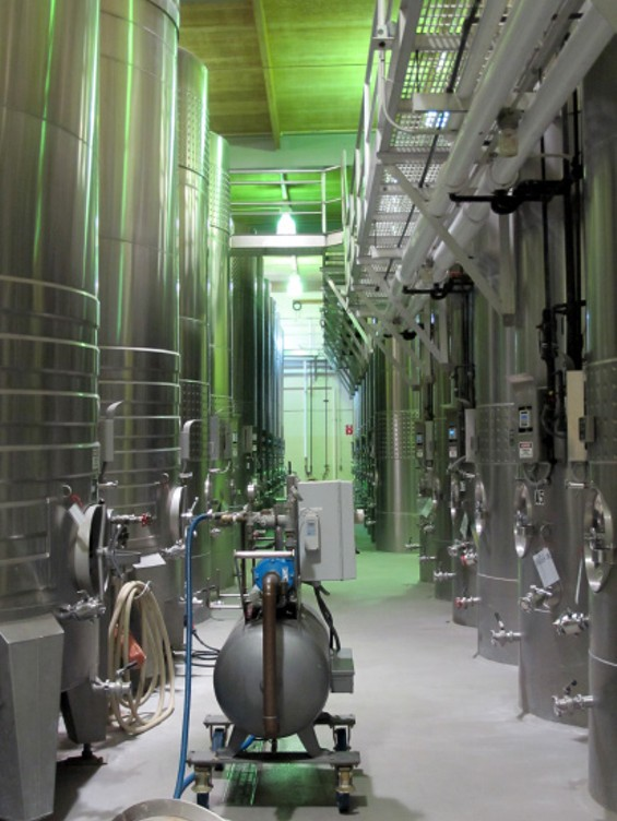 The winemaking facility inside Domaine Carneros - LOU BUSTAMANTE
