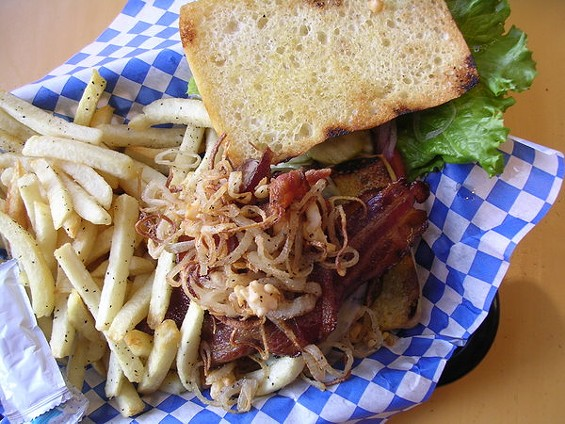 The Works! with bacon, Jack, avocado, mushrooms, and fried onions, $10.95. - JOHN BIRDSALL