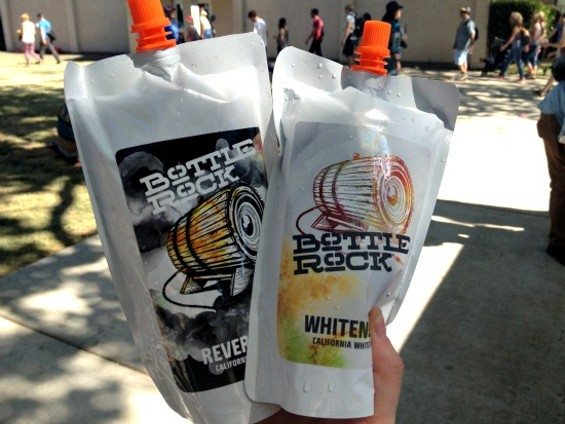 These $15 wine pouches were a huge hit at Bottle Rock yesterday. - ANNA ROTH