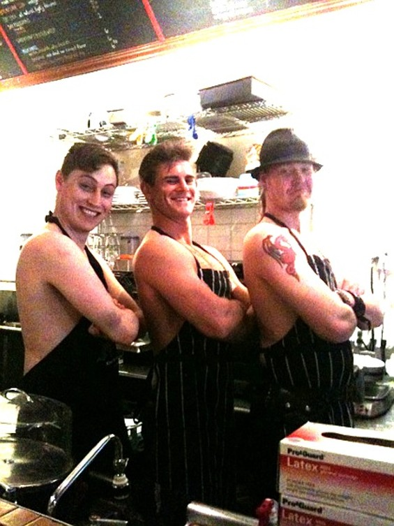 "This shot is from a ""Beefcake Barista"" event."
